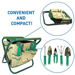 7 Piece Garden Seat Tool Set. Includes- Pruner, hovel, Cultivator , Trowel, Weeding Fork. Folding Stool Seat and Detachable Bag|https://ak1.ostkcdn.com/images/products/18178909/P24325759.jpg?_ostk_perf_=percv&impolicy=medium