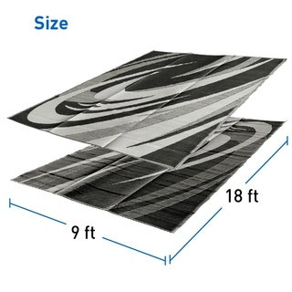RV Camping Mats - Outdoor Patio Mat - Reversible RV Mat - Carrying Strap (9 x 18 Black & White)