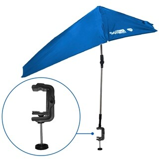 SolPro Clamp-On Shade Umbrella - 4 Way Clamp Umbrella with 360 Degree Swivel and Push Button Hinge. Great for Beach Chairs