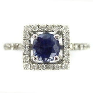 Kabella 18k White Gold 5mm 3/4 ct Blue Sapphire Diamond Ring