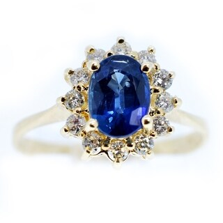 Kabella 14kt Yellow Gold Sapphire & Diamond Accent Around Ring - Blue (More options available)