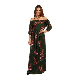 24/7 Comfort Apparel Jungle Hibiscus Maxi Dress