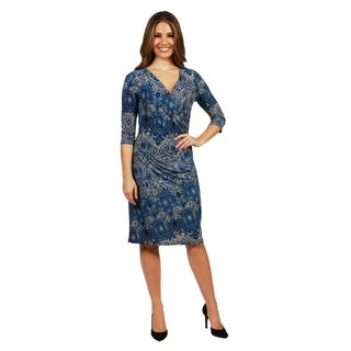 24/7 Comfort Apparel Christina Faux Wrap Dress