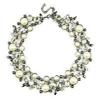 Eye Candy LA Clementine Bib Statement Necklace Black Pearl