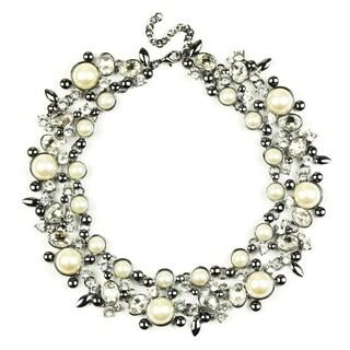 Eye Candy LA Clementine Bib Statement Necklace Black Pearl