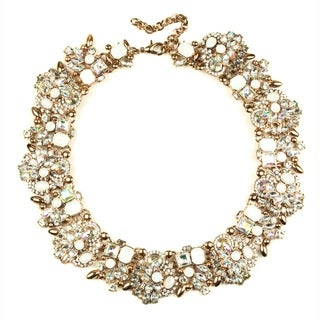 Eye Candy LA Shimmering Opal Clear Stone Wreath Statement Necklace