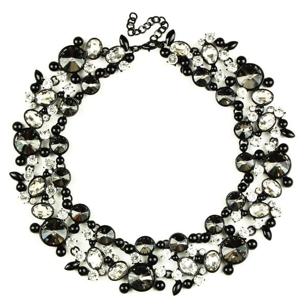 Eye Candy LA Clementine Bib Statement Necklace Black Stone