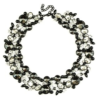 Eye Candy LA Clementine Bib Statement Necklace Black Stone