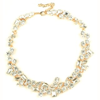 Eye Candy LA Bright Clear Gold Stone Statement Necklace