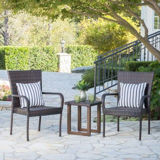 Khoti Outdoor 3-piece Wicker Aluminum Bistro Chat Set by Christopher Knight Home
