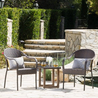 Gavi Outdoor 3-piece Wicker Aluminum Bistro Chat Set by Christopher Knight Home