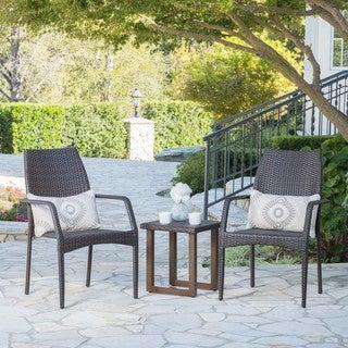 Deva Outdoor 3-Piece Wicker Aluminum Bistro Chat Set by Christopher Knight Home