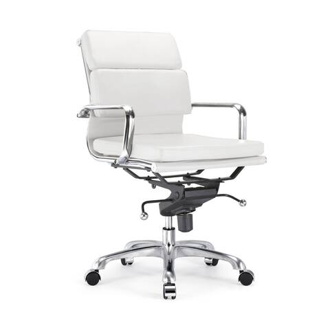 Century White Padded Modern Classic Aluminum Office Chair