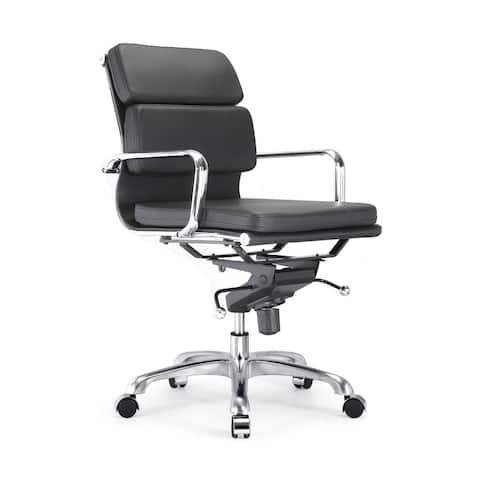 Century Black Padded Modern Classic Aluminum Office Chair