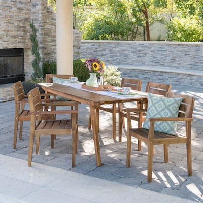 Taiga Outdoor 7-piece Rectangle Wood Dining Set by Christopher Knight Home