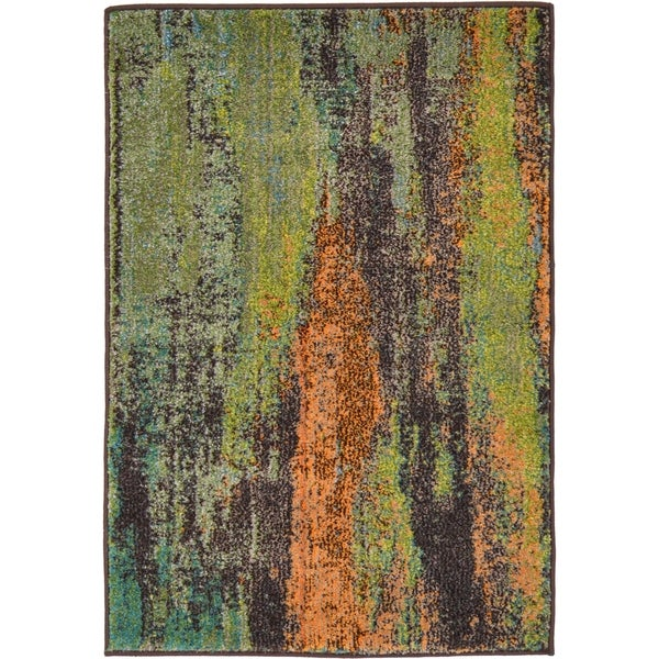 Green/Dark Brown Abstract Area Rug (2'2 x 3')