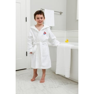 Sweet Kids White Turkish Cotton Hooded Terry Bathrobe with Embroidered Boat Design