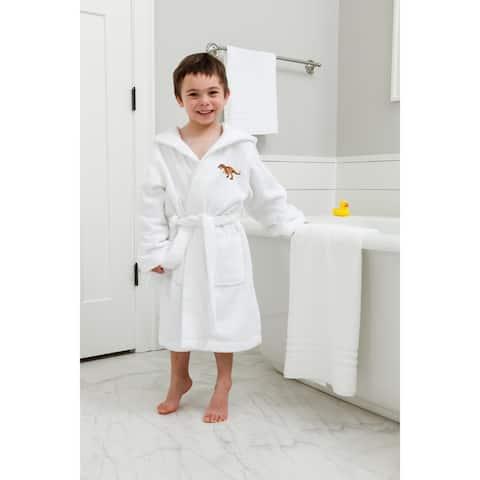 Sweet Kids White Turkish Cotton Hooded Terry Bathrobe with Embroidered Dinosaur Design