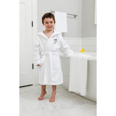 Sweet Kids White Turkish Cotton Hooded Terry Bathrobe with Embroidered Shark Design