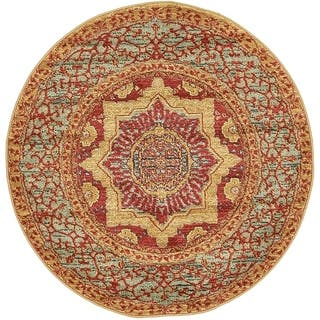 Palace Red Medallion Round Rug 3 X