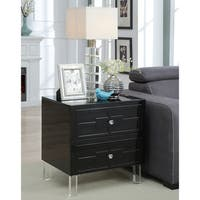Furniture of America Callia Contemporary Finished Wood, Acrylic, Veneer, and Metal 2-drawer Rectangular End Table