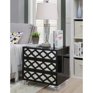 Furniture of America Brigette Contemporary Acrylic 3-drawer Side Table