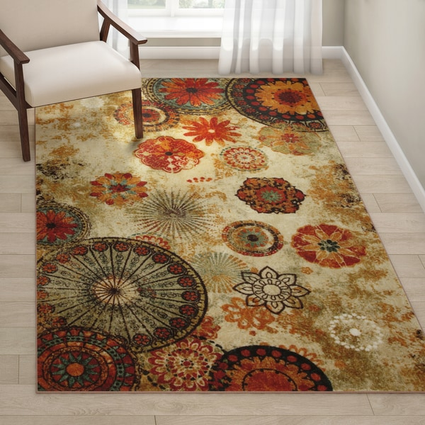 Porch & Den Bexley Indoor/ Outdoor Printed Medallion Rug - 5' x 8'