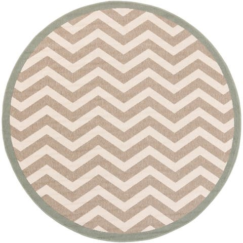 Tuntutuliak Chevron Indoor/ Outdoor Area Rug - 7'3 Round by Havenside Home