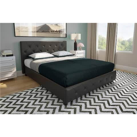 Avenue Greene Darci Black Faux Leather Upholstered Queen Bed