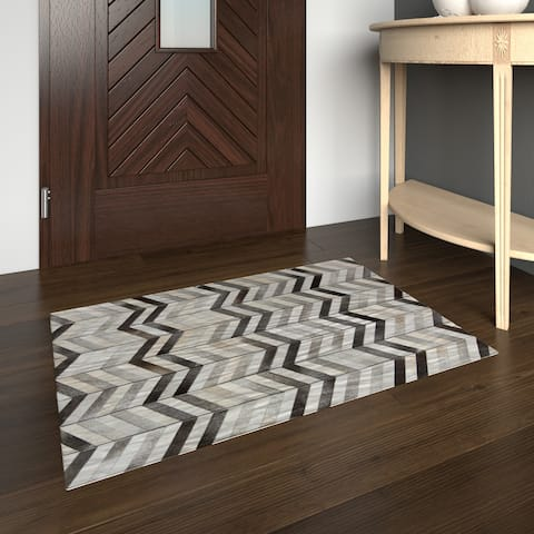 Porch & Den Wadsworth Handmade Chevron Leather Rug - 2' x 3'