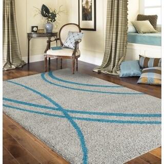 Porch & Den Marigny Rampart Soft Stripe Turquoise Grey Indoor Shag Area Rug (7'10 x 10')