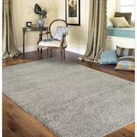 Porch & Den Marigny Kerlerec Solid Light Grey Indoor Shag Area Rug - 5'3 x 7'3