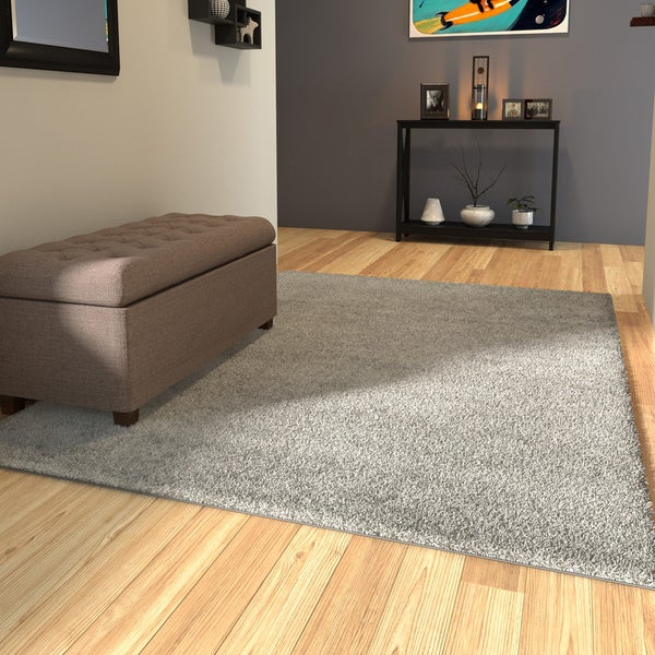 Porch & Den Marigny Kerlerec Solid Light Grey Indoor Shag Area Rug (5'3 x 7'3)