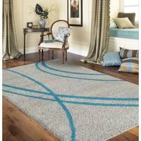 Porch & Den Marigny Rampart Soft Stripe Turquoise Grey Indoor Shag Area Rug - 5'3 x 7'3