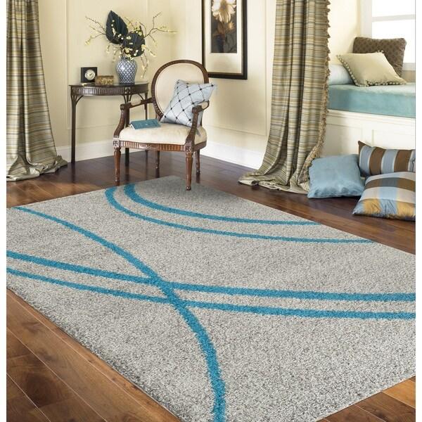 Porch & Den Marigny Rampart Soft Stripe Turquoise Grey Indoor Shag Area Rug (5'3 x 7'3)