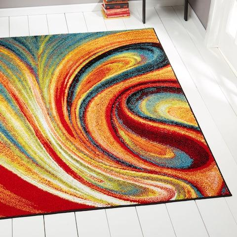 Porch & Den Crowther Orange Swirl Area Rug - 7'10 x 10'2