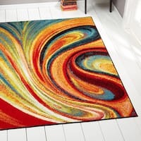 Porch & Den Crowther Orange Swirl Area Rug - 7'10 x 10'2