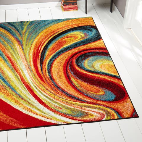 "Porch & Den Crowther Orange Swirl Area Rug - 7'10"" x 10'2"""