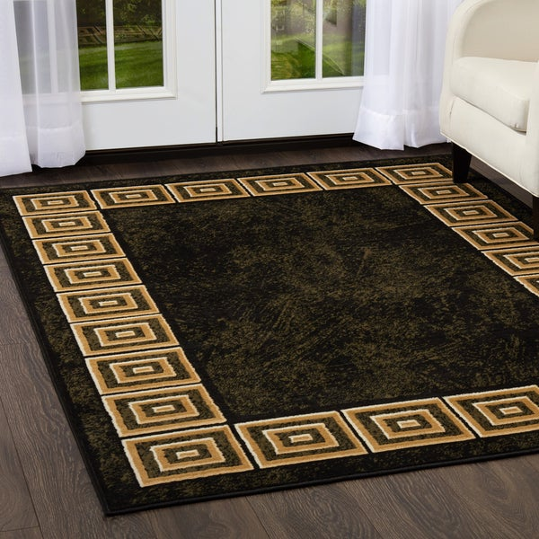 Porch & Den Hampden Tudor Arms Black Area Rug