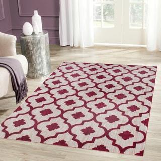 Porch & Den Marigny Royal Trellis Red Soft Area Rug (5'3 x 7'3)
