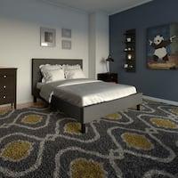 Porch & Den Leonidas Monroe Button Tufted Grey Upholstered Full-Size Platform Bed