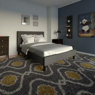 Porch & Den Monroe Button Tufted Grey Upholstered Full-Size Platform Bed