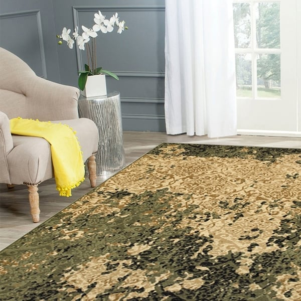 Porch & Den Allegheny Ivory and Green Olefin Indoor Area Rug - 7'9 x 9'5
