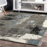 Porch & Den Somerville Melvin Walnut and Silver Blue Indoor Area Rug - 5'2 X 7'2