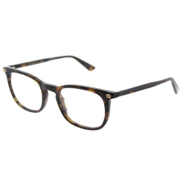 fc42386ecb Gucci Square GG 0122O 2 Unisex Dark Havana Brown Frame Eyeglasses
