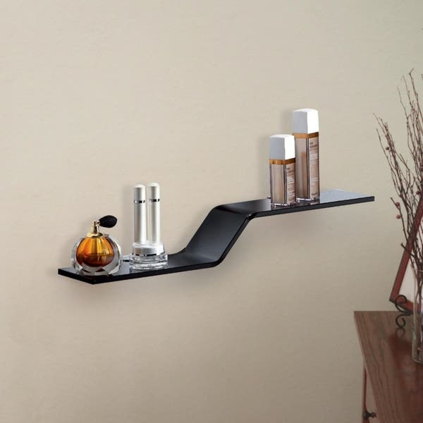 Wave Style Glass Shelf With Silver Chrome Brackets By Fab Glass And Mirror 4 75x23 5 Inch Overstock 18181596