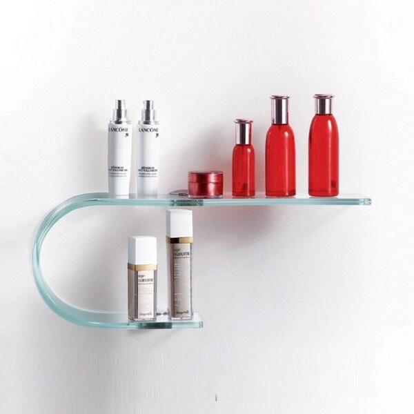 20-Inch Wall-Mounted Bathroom Glass Display Shelf with Chrome Brackets