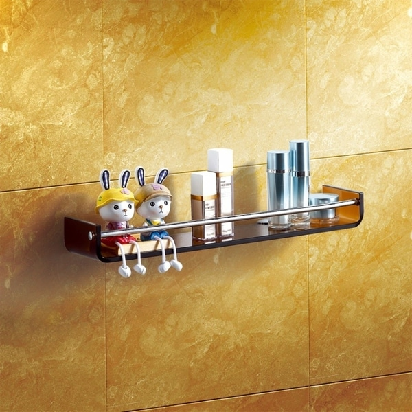 Shop Tinted Stylish Bathroom Glass Shelf With Chrome Towel Bar By