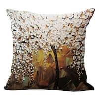Vintage Cotton Linen Pillows Case White Jasmine Flower 18x18