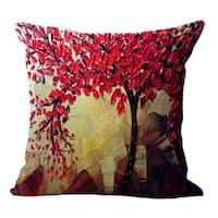 Vintage Cotton Linen Pillows Case Red Petals 18x18